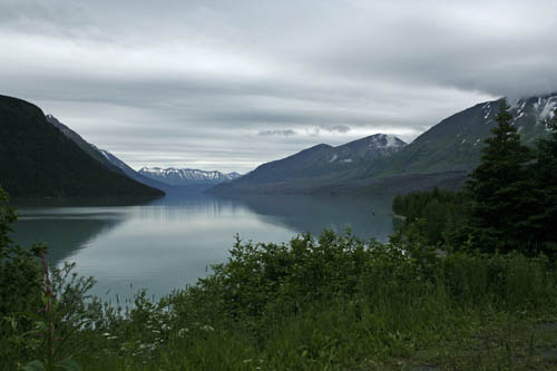 Looking across the lake Stock Photo Alaska